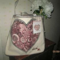 Brighton Express Your Love Sweetheart Tote  Canvas Hand-Painted Brand New 100 Photo