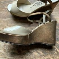 Brighton Flame Platform Wedges Size 10 Bronze Nude Patent Leather W/ Bronze Heel Photo