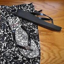 Brighton Flip Flop W/ Storage Bag- Sz. 8.5 or 8 1/2 Black & White Photo