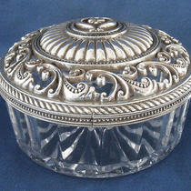 Brighton Glass W/silver Plated Scrolled Lid Vanity Fair Vanity Jar - New in Box Photo