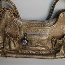 Brighton Gold Pebbleleather Zip Top Braided Strap Satchel Unique Bin 533 Photo