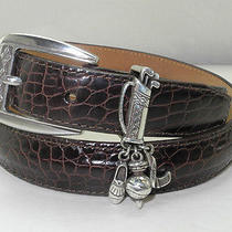 Brighton Golf Charm Brown Embossed Croc Leather Belt - Silver Tone Buckle - M 30 Photo