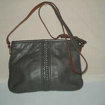 Brighton Gray Braided Front Soft Leather Crossbody Hobo Shoulder Bag W/key Fob Photo