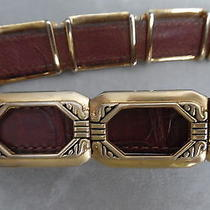 Brighton Great Leather Belt W Gold Plated Frames Photo