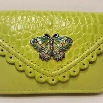 Brighton Green Leather Card Case Wallet With Butterfly Fair Condition Photo