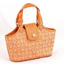 Brighton Handbag Shoulder Bag Orange Canvas Satchel Purse Small Photo