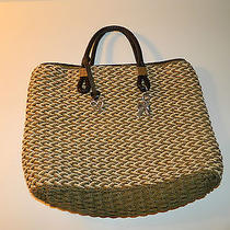 Brighton Handbag Tote Tri-Color Straw Heart Hangtags Charms Basket Weave Photo