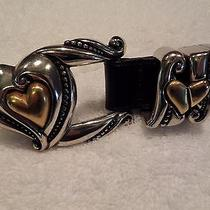 Brighton Heart Gold Sliver Tone Belt Black Leather Euc Medium M 1996 Collectible Photo