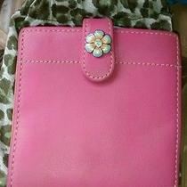 Brighton Heart & Jeweled Flower Pink & Orange Leather Bifold Wallet Billfold  Photo