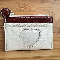 Brighton Heart Photo Gift Card Credit Card Coin Holder Ivory and Brown Leather Photo