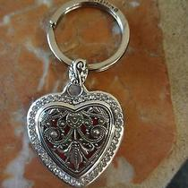 Brighton Heart Song Silver Plated Key Fob Chain Ring E15150 Photo