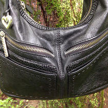 Brighton High-End Style Black Shoulder Bag Lg. Zippers Hand-Stitched Guc Photo