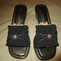 Brighton Isis Microfiber Wedge Heel/sandal/shoesblack W/silver Bead 7mvguc Photo