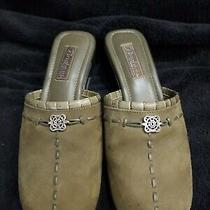 Brighton Isla Women's Size 9 M Brown Suede Med Heel Shoes Mules Olive Green New Photo