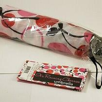 Brighton It's Raining Cherries Umbrella April Showers Red Pink White Black New Photo