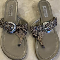 Brighton Italian Reptile Snakeskin Sandals Sz 6.5 M Blue Flip Flops  Photo