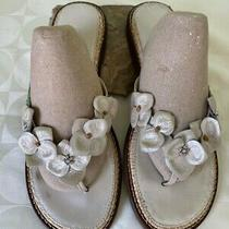 Brighton Ivory Leather Floral Applique Thong Sandals Flip Flops Flats Size 8 M Photo