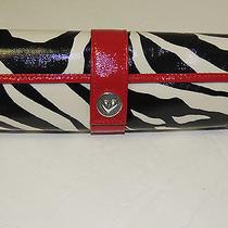 Brighton Jewelry Case Z-Stripe Black Ehite and Red Nwt Photo