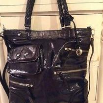 Brighton Kaelan Tote Shopper Handbag Tote/ Crossbody Blue Patent Leather New Photo