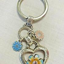 Brighton Key Chain Fob Bloom From Within Flowers Crystals Key Ring Euc Photo