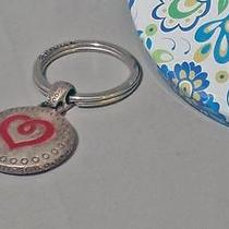 Brighton Key Chain Fob Ring Scroll Red Heart Medallion W Tin Photo