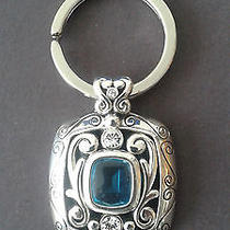 Brighton Key Ring Silver With Blue Stone and Rhinestones Photo