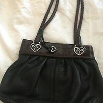 Brighton Large Black Leather Shoulder Hand Bag Purse 2 Braided Straps Croc Trim Photo
