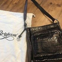Brighton Large Brown Patent Leather Crocco Hobo/shoulder Bag/tote W/ Heart Fob Photo