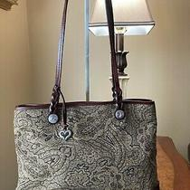 Brighton Large Tote Brown Paisley Jacquard Style Fabric Brown Leather Trim Brown Photo