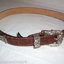 Brighton Leather Belt 30 M Brown 1995 Silver Plated Buckle Tip 44807 Photo