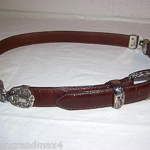 Brighton Leather Belt 30 M Burgundy Brown 1996 Silver Plated Buckle Hinges 24407 Photo