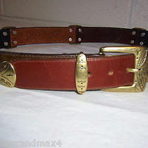 Brighton Leather Belt 30 M Navy and Brown 2 Color 1991 Gold Tone Buckle 41300 Photo