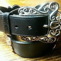 Brighton Leather Belt With Filagree Fleur De Lys Floral Design Silver Tone B2 Photo