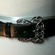 Brighton Leather Belt With Floral Design Silver Tone Photo