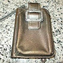 Brighton Leather Bi Fold Wallet Coin Purse Wristlet Silver Pewter  Photo