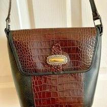 Brighton Leather Black Pebbled Brown Croc Purse Shoulder Bag Bucket Retail 325 Photo