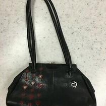 Brighton Leather Black W/red Hearts Kisslock Purse Handbag & Matching Wallet Photo