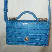 Brighton Leather Blue Croc Flap Crossbody Wallet Purse Photo