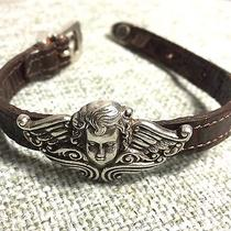 Brighton Leather Bracelet With Angel Silver Charm and Belt Like Closure Photo