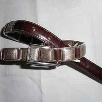 Brighton Leather Brown Belt With Silver Hardware Designs Sizes/28 New Photo