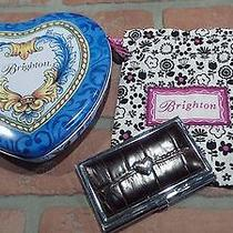 Brighton Leather Brown Love Beat Heart Card Case Silver Pouch & Tin Box Euc Used Photo