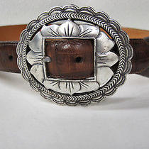 Brighton Leather Casual Belt  Soft Leather Silver Buckle 1 1/2