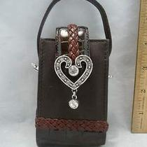 Brighton Leather Cell Phone Holder Crystal/metal Heart With Dangle Photo