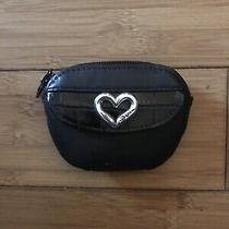 Brighton Leather Change Purse Black With Heart Photo