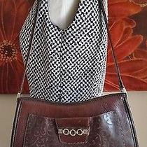 Brighton Leather Classic Brighton Leather Shoulder Bag Embossed Leather & Silver Photo