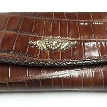 Brighton Leather Corganizer Clutch Wallet Brown Croc Embossed Photo
