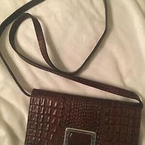 Brighton Leather Croc Organizer Wallet Clutch Crossbody Bag Brown Remove Strap Photo