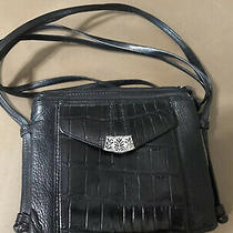 Brighton Leather Crossbody Black Croc Purse Handbag Photo
