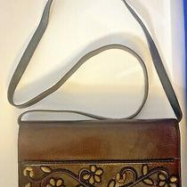 Brighton Leather Crossbody Clutch Wallet Brown Beaded Embroidered Purse Handbag Photo