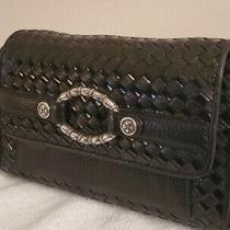 Brighton Leather Crossbody Organizer Wallet Black Woven Purse Photo